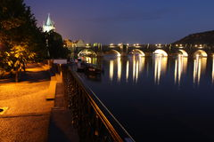 Charles bridge in dark. Scenery of night Prgue Royalty Free Stock Photos