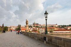 A fairy tale view from the Charles Bridge of the historical buildings in Prague stock photography