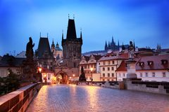 Charles Bridge at dawn Stock Images