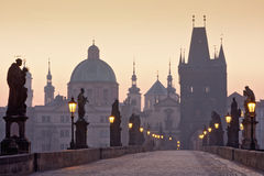 Charles bridge at dawn Stock Photos