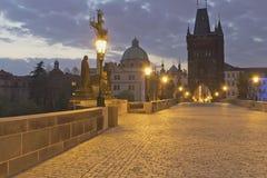 Charles bridge at dawn (Prague) Stock Image