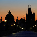 Charles Bridge before dawn Stock Image