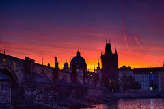 Charles bridge before dawn Royalty Free Stock Photos