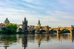 Charles bridge at dawn in Prague, Czech Republic Royalty Free Stock Photo