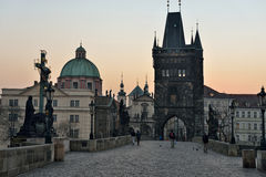Charles Bridge at dawn, Prague Royalty Free Stock Photography