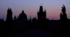 Charles Bridge at dawn, Prague Stock Photos