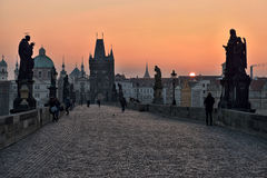 Charles Bridge at dawn, Prague Royalty Free Stock Images
