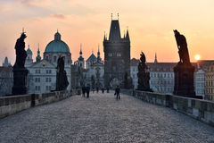 Charles Bridge at dawn, Prague Stock Images