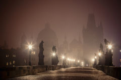 Charles Bridge before dawn, Prague Stock Photos