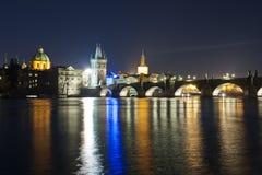 Charles bridge in deep night Stock Images