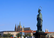 Statue - Charles Bridge - Prague Stock Images