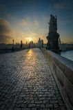 Charles Bridge durante l'alba, Praga, repubblica Ceca Fotografia Stock