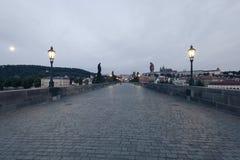 Charles Bridge at early morning Royalty Free Stock Images