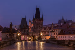 Charles Bridge in the early morning, Prague Royalty Free Stock Images