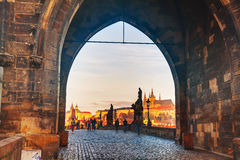 Charles bridge early in the morning Royalty Free Stock Images