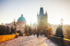 Charles bridge early in the morning Royalty Free Stock Photo