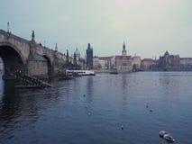 Charles Bridge en Praga, nave de la excursión en el río de Moldava almacen de metraje de vídeo