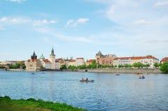 Charles Bridge en toren praag Tsjechische Republiek Oude stad, cityscape Royalty-vrije Stock Foto's