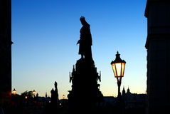 Charles Bridge in the evening. Royalty Free Stock Photo