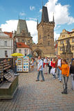 Charles Bridge. External tourists browse after Charles bridge. The Charles Bridge is a famous historic bridge that crosses the Vltava river in Prague, Czech royalty free stock photography