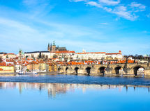 Charles Bridge and historical buildings in Prague from across th Stock Photos