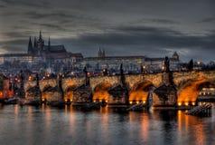 Charles Bridge, Hradcany, and Prague Castle. A view of Charles Bridge and Prague Castle at night Stock Image