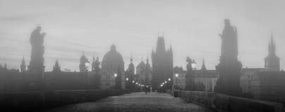 Charles Bridge i dimma på soluppgång, Prague, Tjeckien Dramatiska statyer och medeltida torn fotografering för bildbyråer