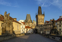 Charles Bridge with its statuette, Lesser Town Bridge Tower and the tower of the Judith Bridge.In the background could see the bea Royalty Free Stock Photography