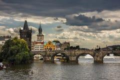 Charles Bridge (Kamenny most) Prague Bridge over Vltava river in Pragu. E, Czech Republic Royalty Free Stock Photos