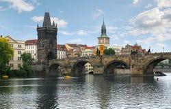 Charles Bridge Karlov Most in Praag, Tsjechische Republiek stock afbeelding