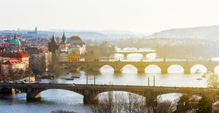 Charles Bridge Karluv Most and Lesser Town Tower, Prague, Czec Stock Photography