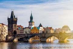 Charles Bridge Karluv Most and Lesser Town Tower, Prague, Czec Stock Photos