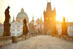 Charles Bridge (Karluv Most) and Lesser Town Tower Stock Images