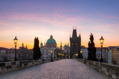 Charles Bridge (Karluv Most) and Old Town Tower, the most beauti. Ful bridge in Czechia. Prague, Czech Republic Royalty Free Stock Photos