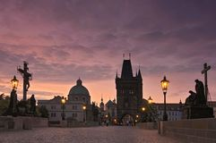 Charles Bridge Karluv Most and Old Town Tower at sunrise, Prague, Czech Republic. stock photo