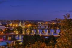 Charles bridge, Karluv most, Prague in winter at sunrise, Czech Republic stock image