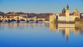 Panorama. Landmark attraction landscape in Prague: Charles Bridge - Karluv most - Vltava river - Czech Republic Royalty Free Stock Photo