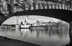 Panorama. Landmark attraction landscape in Prague: Charles Bridge - Karluv most - Vltava river. Czech Republic Royalty Free Stock Photo
