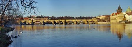 Panorama. Landmark attraction landscape in Prague: Charles Bridge - Karluv most. Vltava river - Czech Republic Stock Photos