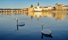 Panorama. Landmark attraction landscape in Prague: Charles Bridge - Karluv most - Vltava river - Czech Republic. Panorama. Landmark attraction landscape in Royalty Free Stock Images