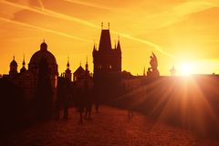 Charles bridge at sunrise, view of the Old town, Prague, Czech Republic royalty free stock images