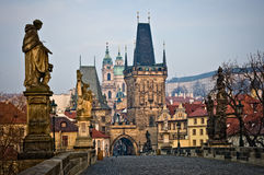 Charles Bridge Lesser Tower in Prague Royalty Free Stock Image