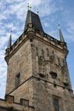 Charles Bridge_Little Quarter side tower_detail. The Charles Bridge ( Karlův most) is a famous historic bridge that crosses the Vltava river in Prague, Czech Royalty Free Stock Images