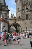 Charles Bridge_Little Quarter side tower_VI. The Charles Bridge ( Karlův most) is a famous historic bridge that crosses the Vltava river in Prague, Czech Stock Images