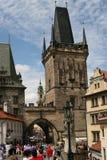 Charles Bridge_Little Quarter side tower_II. The Charles Bridge ( Karlův most) is a famous historic bridge that crosses the Vltava river in Prague, Czech Royalty Free Stock Image