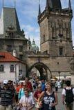 Charles Bridge_Little Quarter side tower_I. The Charles Bridge ( Karlův most) is a famous historic bridge that crosses the Vltava river in Prague, Czech Royalty Free Stock Photography