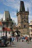 Charles Bridge_Little Quarter side tower. The Charles Bridge ( Karlův most) is a famous historic bridge that crosses the Vltava river in Prague, Czech Republic Stock Image