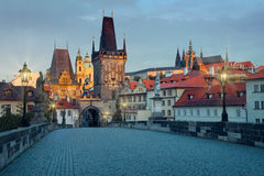 Charles Bridge and Mala Strana with Prague Castle early morning Royalty Free Stock Image