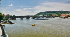 Charles Bridge and Moldava (Vltava) river. Prague. Czech Republic. Prague is the capital and largest city of the Czech Republic Royalty Free Stock Photos