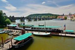 Charles Bridge and Moldava (Vltava) river. Prague. Czech Republic. Prague is the capital and largest city of the Czech Republic Royalty Free Stock Photography